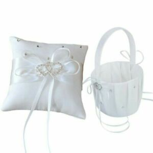 "Crystal Heart Bridal Wedding Party Flower Girl Basket Ring Bearer Pillow 6"""