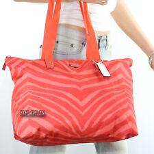 Coach Zebra Animal Print Packable Weekender Tote Bag F77526 Hot Orange