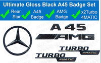MERCEDES A-CLASS W176 GLOSS BLACK AMG A45 4MATIC WING BADGES STAR BADGE 2013-18