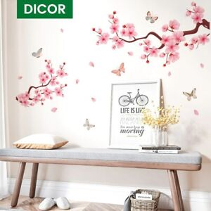 Pink Peach Blossom Wall Sticker Decal For Home Interior Butterflies Wall Decor