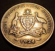 1924 Australia 2/- Two Shillings One Florin #24-F-01 ** ERROR ROTATED DIE CRACKS