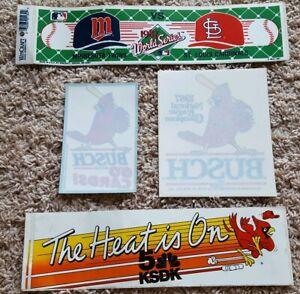 Vintage St Louis Cardinals Anheuser Busch Beer Window Decal Bumper Sticker Lot 6