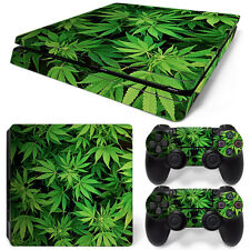 Sony PS4 PlayStation 4 Slim Skin Sticker Screen Protector Set - Cannabis 5 Motif