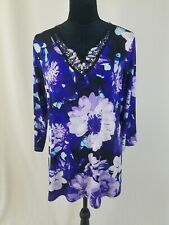 Susan Graver women L beaded embellished tunic 3/4 sleeve floral
