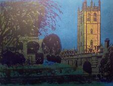 ROBERT TAVENER Magdalen Tower/Bridge Oxford Ltd Ed Linocut Signed Artist's Proof