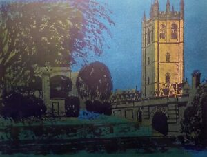 ROBERT TAVENER Magdalen Tower/Bridge Oxford Ltd Ed Linocut Signed Artist's Proof