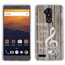 For ZTE Max XL / Blade Max 3 / Blade X Max TPU Phone Case (Wood/Music)