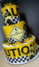 3 Tier Diaper Cake - Baby Under Construction Theme - Black and Yellow