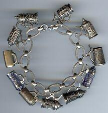 Vintage Argent Sterling Émail Bière Chopes Lien Breloque Bracelet