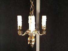 Vtg RARE Chandelier Swag Lamp Hanging Ceiling Light Candlestick Metal Candelabra