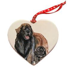Leonberger Porcelain Pet Gift Heart Ornament