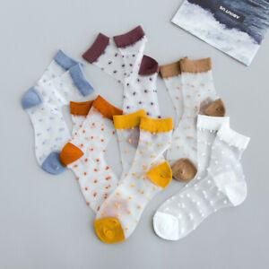 Women Mesh Polka Dot Ankle Socks Transparent Short Socks Hosiery Stockings