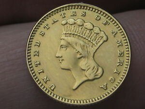 1887 $1 Gold Indian Princess One Dollar Coin- VF/XF Details
