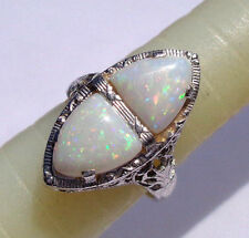 ORNATE & EXQUISITE ART DECO 1920s 14k WHITE GOLD DOUBLE OPAL FILIGREE RING WOW!!