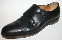 GUCCI Italy Black Leather Loafers Monk Strap Horsebit Buckle Mens UK8.5 US 9.5