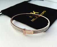 Michael Kors Bangle Rose Gold MK Logo Bangle Bracelet w/ a pouch