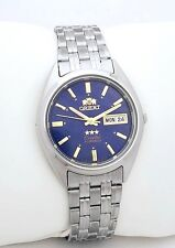 ORIENT 3 Star Automatic Watch Mens SILVER tone BLUE dial FAB0000DD9 NEW with Box