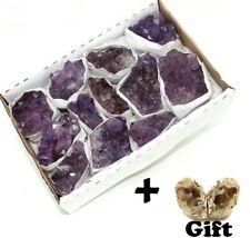 Great Quality Purple Amethyst Crystal Druzy 1.5 - 2 lb Box + Geode Pair Gift