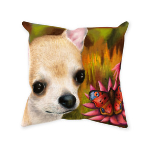 Throw Pillow Case Cushion cover Dog 85 Chihuahua Butterfly L.Dumas