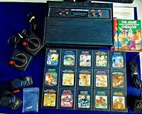 Atari 2600 Console/Game Lot Of 26 Vader Console Joysticks Paddles 15 Games More