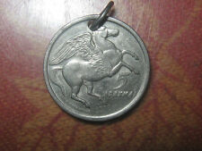 GREECE PHOENIX PEGASUS HORSE FANTASY GREEK MYTHOLOGY COIN PENDANT NECKLACE