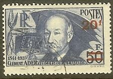 """FRANCE TIMBRE STAMP N°493a """" CLEMENT ADER 20F SUR 50F PAPIER MINCE"""" OBLITERE TB"""