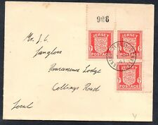 JERSEY 1941 GERMAN OCCUPATION 1d. Red BLOCK on FDC Postcard SG 2
