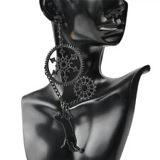 Black Dangle Steampunk Earrings Fashion Halloween Long Black Cat Vintage Punk