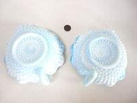 Blue Swirl Slag Set (2) Milk Glass HANDLED HOBNAIL DISHES Scalloped Kanawha USA!