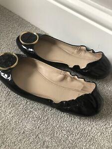 Tory Burch Black Flat Ballerina Pumps Shoes Size UK 5