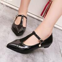 Ladies Womens Ankle Strap Dress OL Casual Pointed Toe Flats Heel Mary Jane Shoes