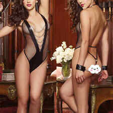 Sexy-Women Mesh Lingerie Nightwear Underwear Sleepwear Deep-V Backless Bodysuit