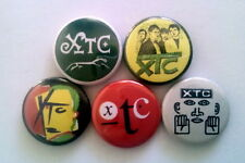 "5 x Xtc 1"" Pin Button Badges (white music go 2 drums and wires black sea mummer)"