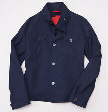NWT $2495 ISAIA Dark Blue 'Storm' Button-Front Wool Racer Jacket 50/M Slim-Fit