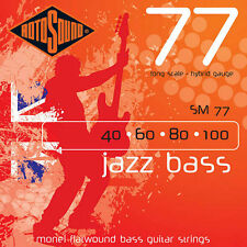 Rotosound SM77 Monel Flatwound Hybrid Bass Guitar Strings (40-100) + Picks