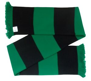 Black and Green Retro Bar Scarf - Made in the UK