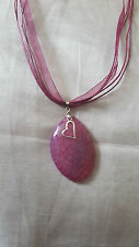 handmade natural pink agate necklace on organza ribbon and cord necklace
