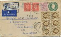 GB 1945 George VI 3d R-Airmail/Fieldpost postal stationery env 6sh11d S-AFRICA