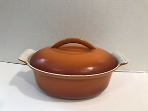Vintage Cast Iron Cooking Pot With Lid flaming red orange Made In Holland # 20