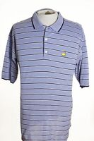 Augusta National Masters Mens L Large Light Blue Stripe Polo Shirt Cotton