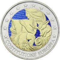 2 Euro Gedenkmünze Italien 2005 coloriert mit Farbe /  Farbmünze Verfassung