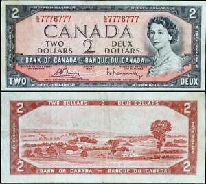 Canada 1954 $ 2 Banknote collectible interesting Serial Number circulated