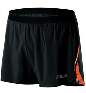 ASICS Men's L Large ARD Split Lined Vented Running Shorts Black Orange NEW WOT