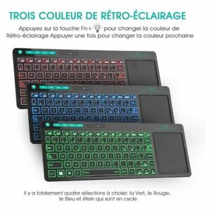 Wireless Multimedia French AZERTY Keyboard 3-LED Color Backlit with Multi-Touch