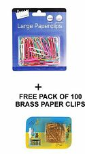 100 x PAPER CLIPS JUMBO LARGE SIZE PAPERCLIPS+FREE 100 BRASS PAPER CLIPS-9195+80