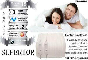 Superior Electric Heated Blanket Luxury Fully Fitted King Size Dual Controls
