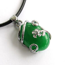 Metal Flower Pendant Jewelry Green Jade Gemstone Alloy