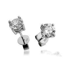 Vintage 18k White Gold Diamond Solitaire Diamond Stud Earrings 0.1 0CTS