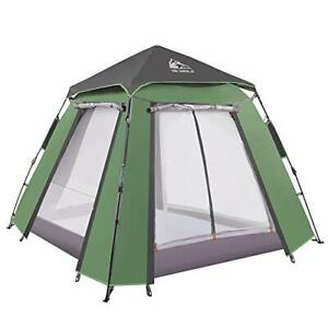Pop Up Dome Tent For 3-4 People with Porch, 2-Door and 2-Pane Double Layer Tent