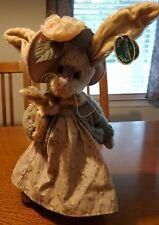 "Bearington Collection Adeline Bunny Rabbit 13"" Tall w Baby Toy Bunny Pose Head"